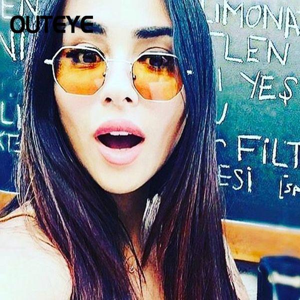 Wholesale- Brand Designer Hexagon Sunglasses Women Luxury Metal Eyewear Retro Vintage Mens Clear Sun Glass 2017 Fashion Shades Lunette