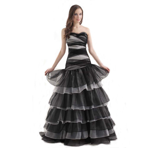 New Arrival Off the Shoulder Fashion Prom Dress Ladies Black Organza Elegant Special Occasion Dress Tiered Layers