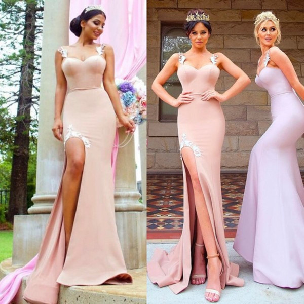 Modest Mermaid Split Bridesmaid Dresses Long Strap Sheath Sweetheart Neckline Maids Honor Gowns Custom Made Cheap Prom Dress Formal Gown