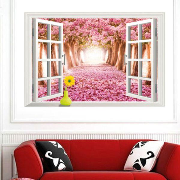 Carta da parati Adesivo da letto 3D Window Cherry Blossom Albero di arte decorazione della casa della parete della parete Decals Poster autoadesivi di carta