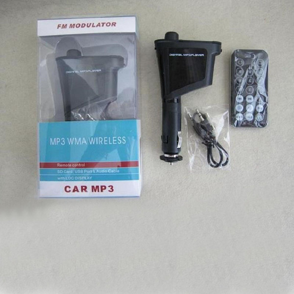 best selling MP3 Car Kit LCD Display FM Radio SD Card USB Port 360 Degree Rotation Wireless Car Players DHL Free OTH158