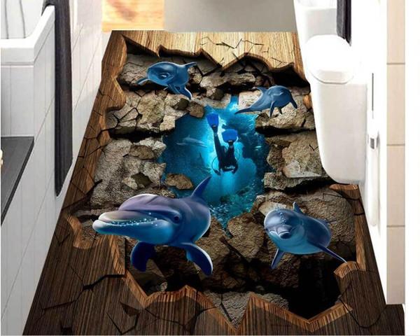 3d floor wallpaper Dolphin cracks 3d wallpapers for wall floor Custom 3d room wallpaper landscape pvc flooring roll