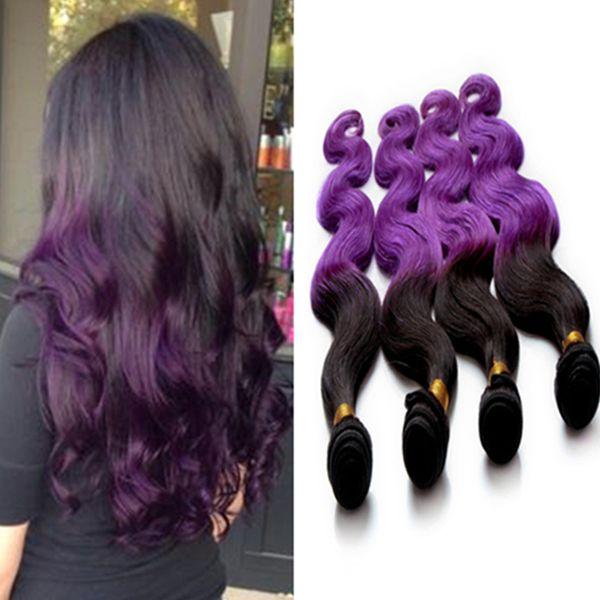 Cheap Purple Ombre Hair Extension Brazilian Human Hair Weave