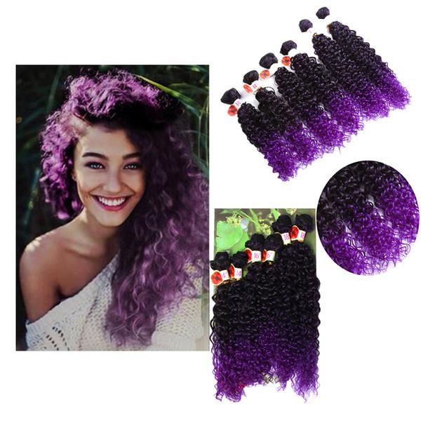 14-18inch Eunice 6pcs / paquete Jerry rizado de la armadura de la extensión del pelo cose en el tejido sintético tramas paquetes de la cabeza llena de un paquete