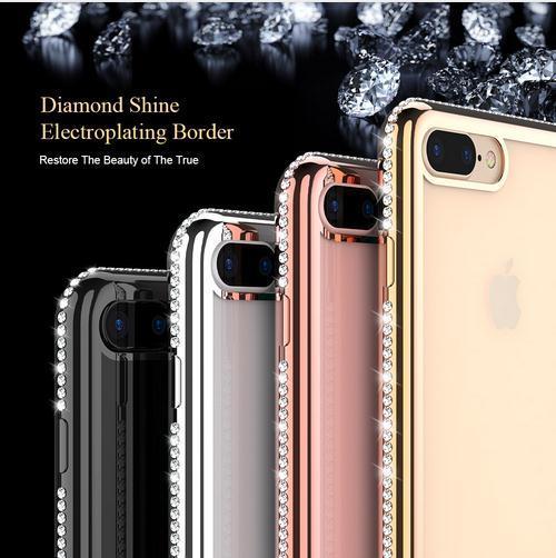 Lüks Altın Kaplama Bling Elmas Telefon Kılıfları iPhone 6 7 6 S Artı 5 5 S SE Durumda Temizle Şeffaf TPU Kapak iphone 7 6 6 S