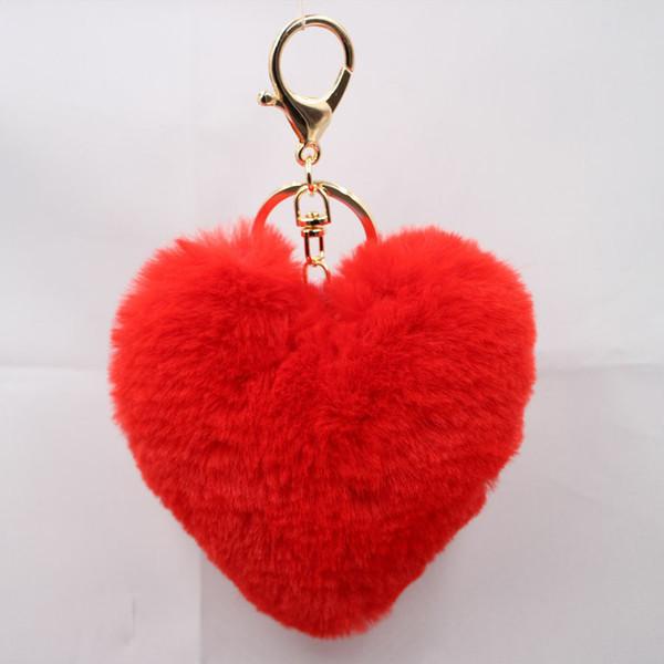 Fabricantes al por mayor en forma de corazón encantador bulbo del pelo llavero imitación conejo 10 cm señora bolsos accesorios coche colgante de regalo