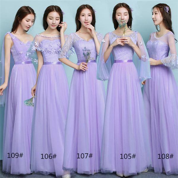 2018 Yeni Yaz Lavanta Uzun Gelinlik Modelleri Kadınlar Düğün Balo Parti Kokteyl Zarif Abiye giyim Güzel Örgün Ünlü Elbiseleri