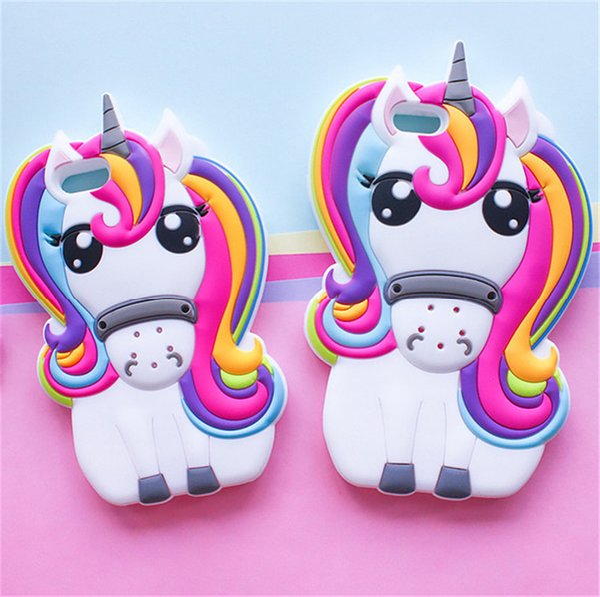 Hot Cute 3D Rainbow Unicorn Horse Animal Cartoon Soft Silicone Phone Cases Cover For iPhone 7 7Plus 4 4S 5S 5C SE 6 6G 6S 6Plus