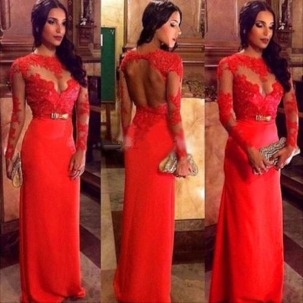Backless Vintage Red Lace Evening Dresses Long Sleeve Sheath Custom Made Formal Prom Gowns New Sash Floor Length Transparent Appliques