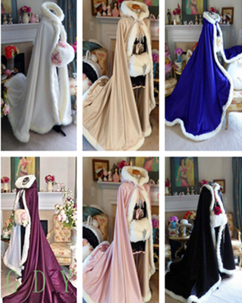 High Quality Winter Bridal Cloak Jacket Long Cape Tippet Shawl Coat Bolero Fabric Custom Made With Faux Fur Chapel Train White