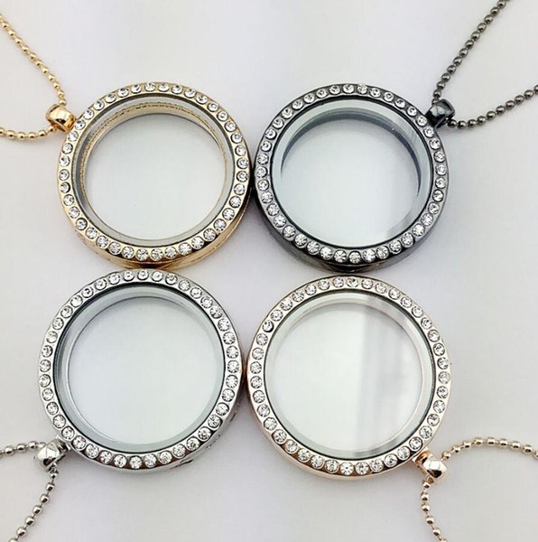 top popular New Floating Locket Pendant Necklace women Magnetic Living Memory Glass Floating Charm Locket With bead Chains DIY necklaces 4 Colors 2019