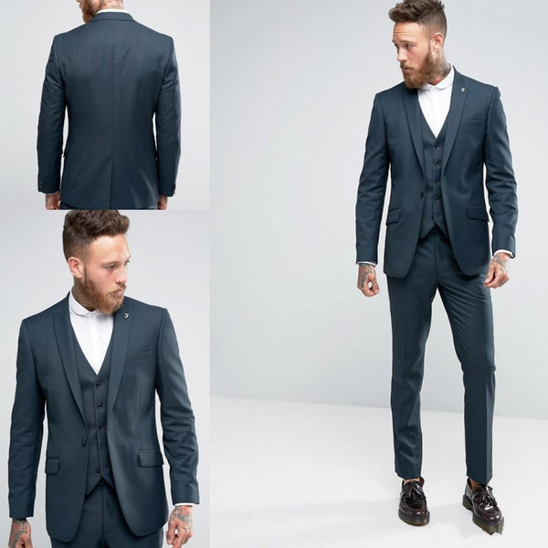 Groom Tuxedos Bridegroom Suit One Button Men Suit Best Men Groom ...