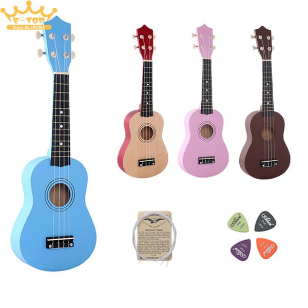 """top popular Wholesale-21"""" four colour Ukulele Beginners Children Christmas Gifts Hawaii Four String Guitar +String+Pick 2020"""