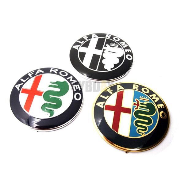 2pcs Black white New 74mm 7.4cm ALFA ROMEO Car Logo emblem Badge sticker for ALFA ROMEO Mito 147 156 159 166 Giulietta