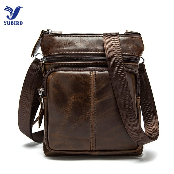 Wholesale- Small Genuine Leather Messenger Bags for Men Male Casual Real Cowhide Single Shoulder Bag Crossbody Zipper Handbags Man Mini Bag