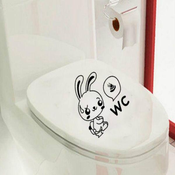 1pcs Rabbit Toilet Poop Toilet Sticker Decal Vinyl Bathroom Sticker Murals Art Wall Stickers Home Decor