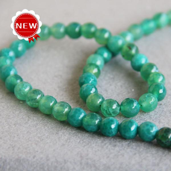 Venta caliente 8mm Moda luz Verde Ágata Natural cuentas Redondas Jasper Beads DIY piedras sueltas 15 pulgadas Fabricación de joyas de diseño al por mayor