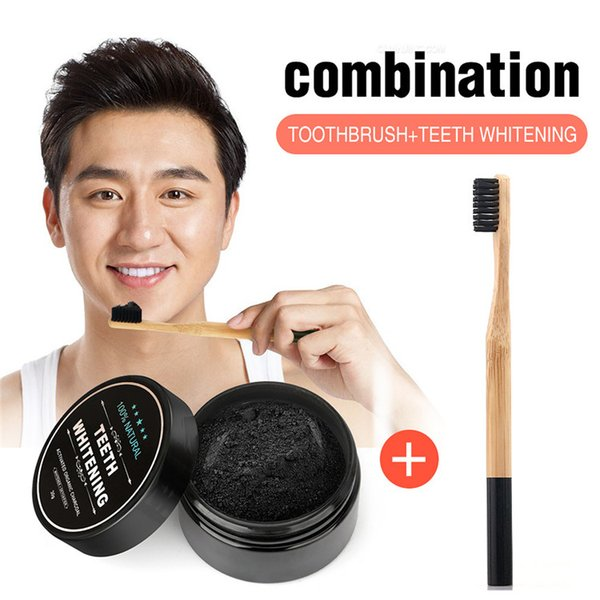 best selling 3 pcs Coconut shell powder was Whitening was black and Bamboo handle toothbrush