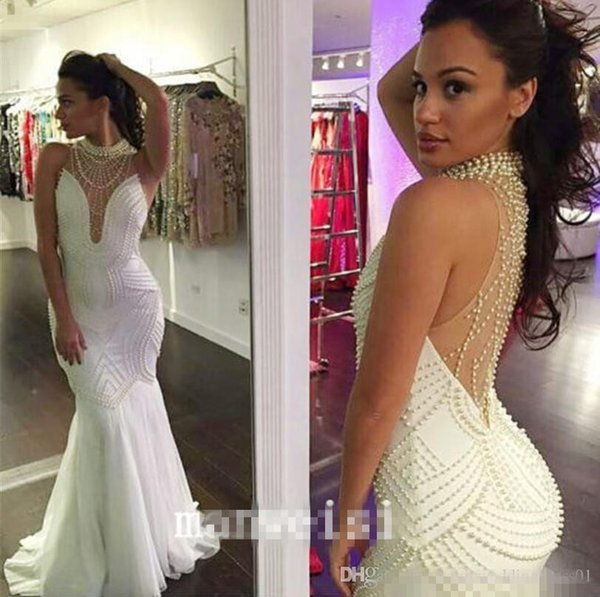 2016 Charming White Pearls Chiffon Prom Party Dresses High Neck Illusion Bodice Mermaid Plus Size Real Photos Formal Evening Pageant Gowns