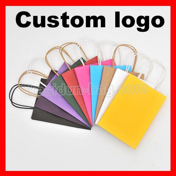 Bolsa de papel de regalo de logotipo al por mayor (1000pcs / lot) tamaño W21xH27x11cm personalizado con asas
