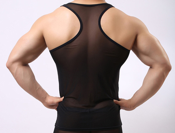 top popular Man's Solid color seamless underwear clothing close-fitting vest comfortable mesh undershirt 2019