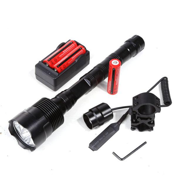 3800Lm Powerful XML 3xT6 3T6 LED Tactical Flashlight Lantern 5Mode Torch+18650 Battery+Charger+Remote Switch+Gun Mount Free Shipping
