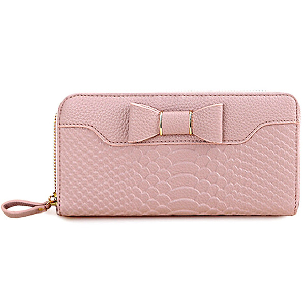 Wholesale- Bowknot Women Wallets artificial leather High Quality Designer Brand Wallet Lady Fashion Clutch Casual Women Purses