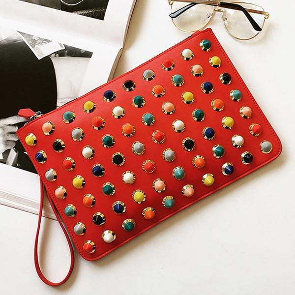 luxury handbags rivet envelope party bags famous brands candy day clutches rivet crossbody bag women briefcase Wristlet hand bag