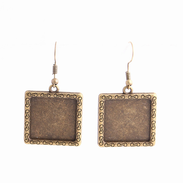 SWEET BELL 12pcs/lot Metal Alloy Zinc Fit Square 20mm Cabochon Set Pendant Drop Earing Diy Jewelry Making C0789