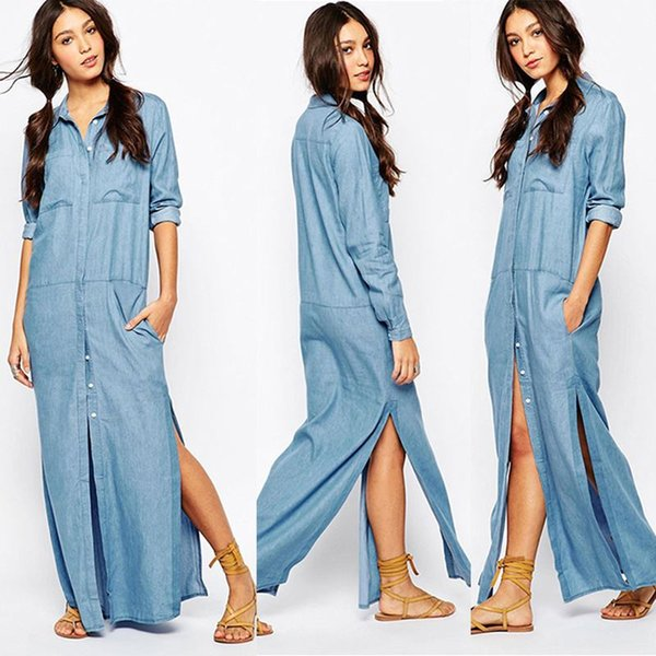 18b9d9e80232 Vintage Long Denim Shirt Dress Women Lapel Side High Split Straight Jeans  Maxi Dress Single Breasted Front Pocket Button Casual Plus Size