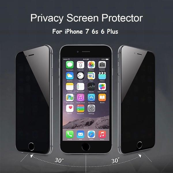 Filme para iphone5 iphone6 além de iphone 6 6 s 7 plus privacidade vidro temperado protetor de tela anti pio