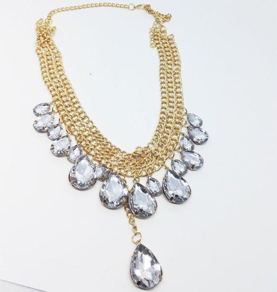 LT611 Jewelry Wholesale Fashion Luxury Water Drops Gem Sweater Necklace for Women Jewelry Free Shipping