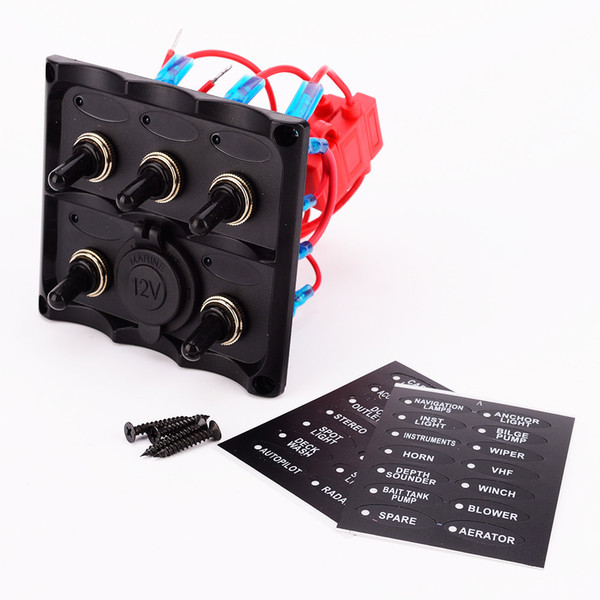 마린 전기 블루 LED 토글 스위치 패널 5 갱 전압계와 소켓 전압 usb 전원 충전기 DIN 패널 12V