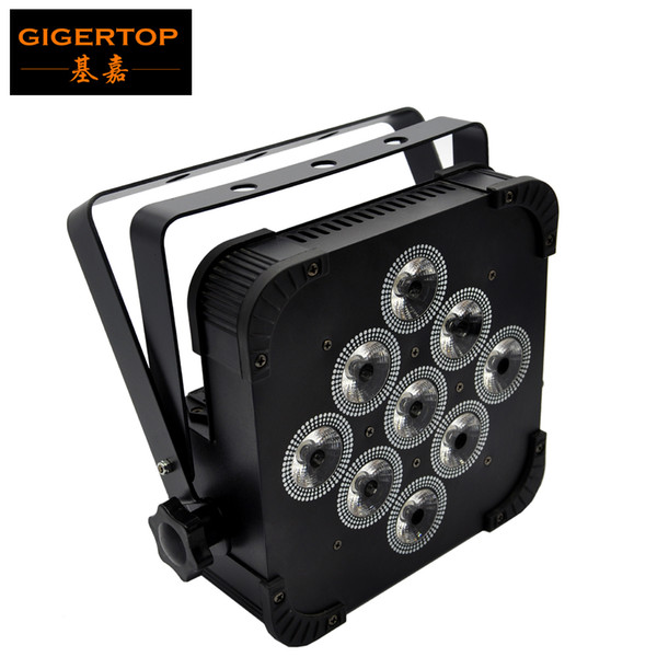 Gigertop TP-G3039-4IN1 RGBW Color Mixing Flat Iron Led Par Light Fan Cooling No Battery Cheap Price Daisy Chain LCD Display Black Housing