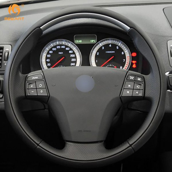 DIY Mewant Black Artificial Leather Car Steering Wheel Cover Wrap for Volvo C70 2008 2009 2010