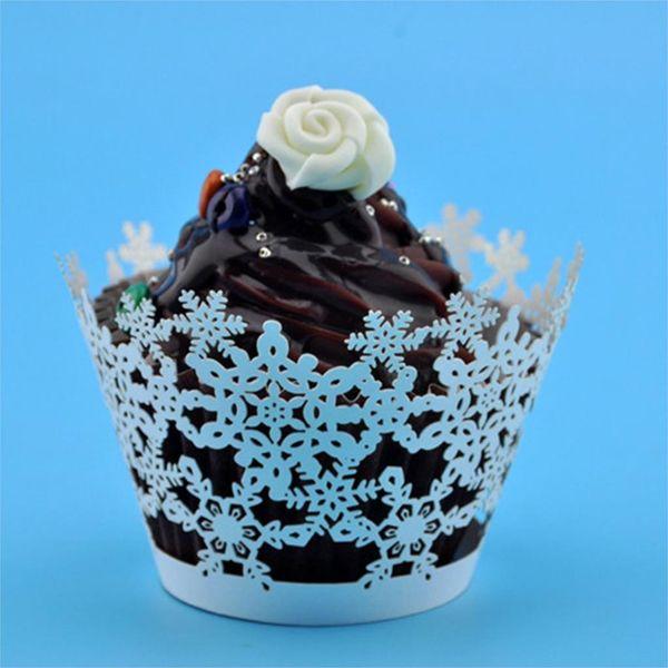 Wholesale-12Pcs / set Hot Pearly Paper Snowflake Design White Light Ivory Cream Cupcake Wrappers Casos Decoración Aniversario de boda