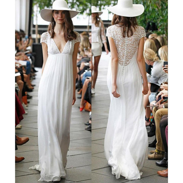2020 verão vestidos de casamento casuais decote em v profundo manga curta rendas chiffon império cintura vestidos de noiva vestidos de noiva tamanho personalizado