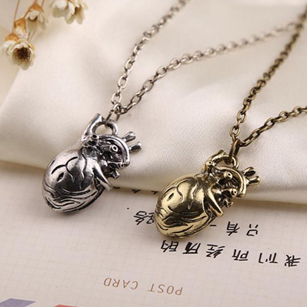 All'ingrosso-anatomico cuore collana vintage anatomia cuore argento antico e bronzo gioielli ciondolo per uomini e donne all'ingrosso
