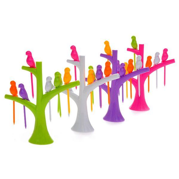 HOT 2017 New Tableware Dinnerware Sets Creative Tree+Birds Design Plastic Fruit Forks 1 Stand+6 Forks Hot Sale Vegetable Fork