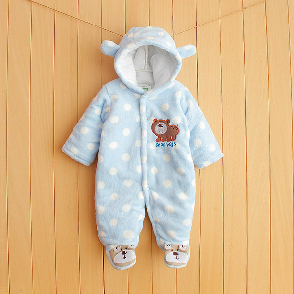 Collager Newborn Baby Cartoon Bear Snow Suit Infant Jumpsuit Winter Warm Fleece Snowsuits Romper for Boys Girls