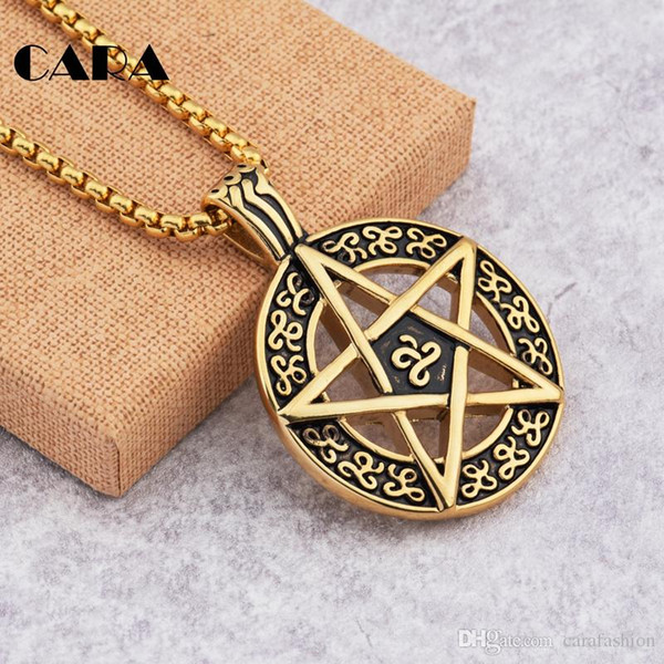 NEW hip hop Necklace Punk Pentacle Five Point Star Moon Pentagram Charm Pendant Circle Men's Gents Dress Chain Necklace Jewelry CAGF017