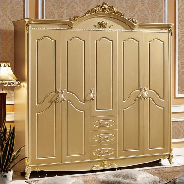 hot selling new arrival five door wardrobe modern European whole wardrobe French bedroom furniture wardrobe pfy10067