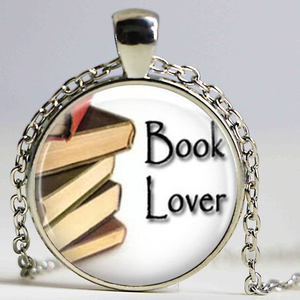 Book Necklace Book Lover Bookworms Librarian Art Pendant in Bronze or Silver with Link Chain Included Choker Necklace