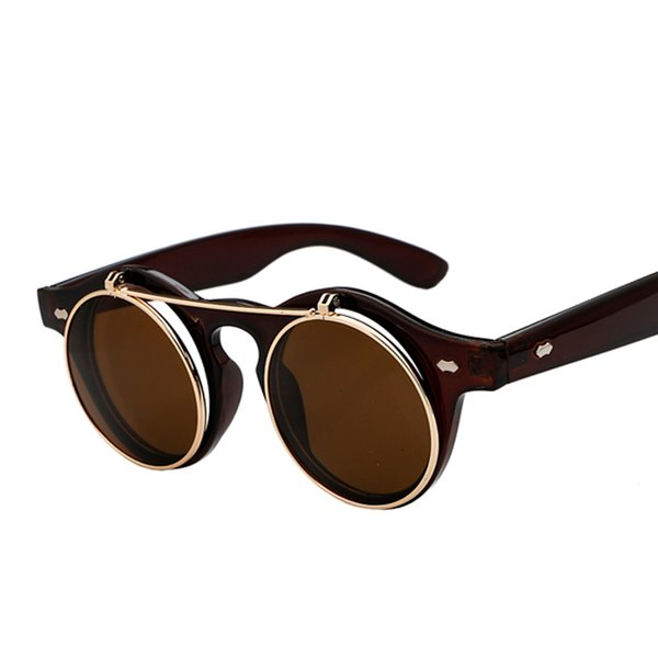 c09122c3f0 Wholesale- Fashion Round Sunglasses Women Vintage Steampunk Flip Up Sun Glasses  Men Retro Steam Punk Goth Eyeglasses Gafas Oculos de sol