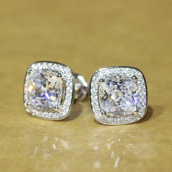 Beautiful 2 carat Cushion Cut NSCD Simulated Diamond Screw Post Stud Earrings Halo ,Fine Sterling Silver Jewelry DE008-L ccp