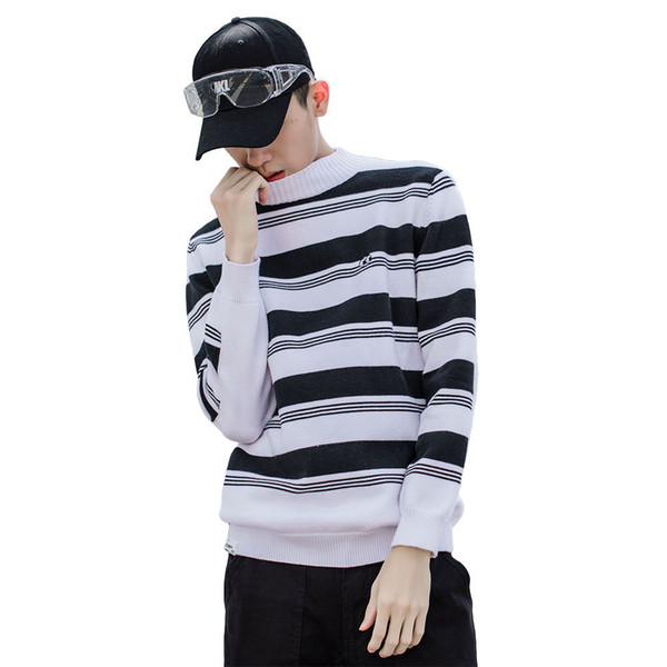 Striped Sweater Men Autumn Winter Fashion Casual Sweater Pullovers Harajuku Youth Couples Stripe Knitting Tops Clothing