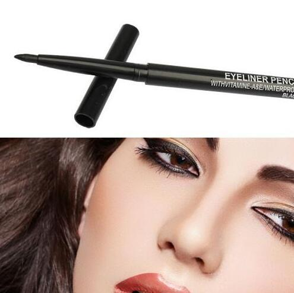 best selling ePacket Free Shipping 120PCS Lot Pro Makeup Rotary Retractable Black Gel Eyeliner Beauty Pen Pencil EyeLiner