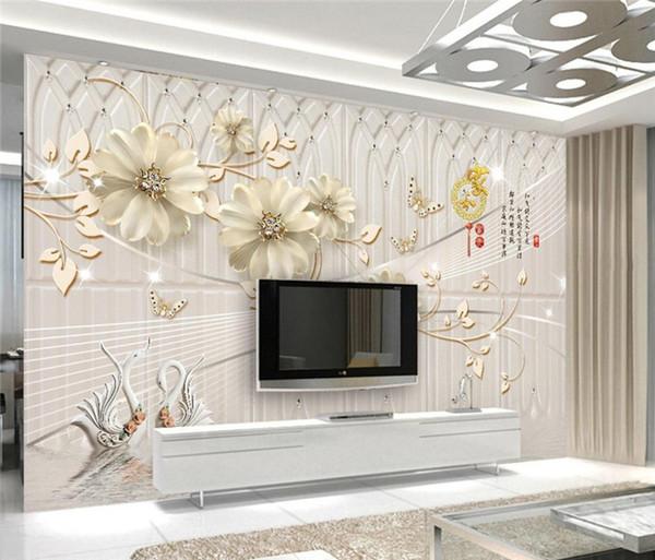 Großhandel Benutzerdefinierte Europäische 3D Wandbilder Tapete Blumen  Schöne Luxus Desktop Wallpaper Für Schlafzimmer Wand Wandbilder TV  Hintergrund ...