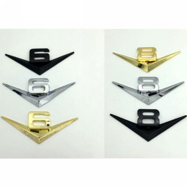 Bricolaje V6 V8 3d Sticker Chrome Metal Car Tail Badge Decoración Trunk Decals Emblemas Pegatinas Accesorios Auto