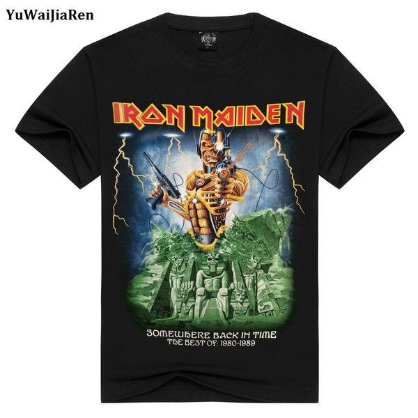 Toptan-YuWaiJiaRen Erkek T Shirt Moda Yaz Iron Maiden Kafatası Baskı Ağır Metal Kaya Hip Hop Punk Swag Hipster Tee Gömlek Anime